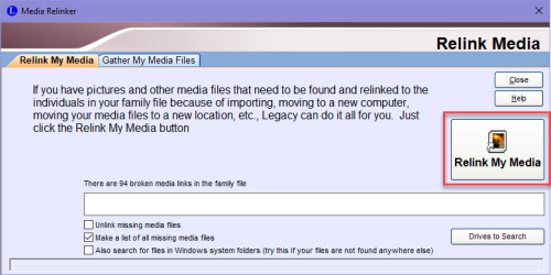 Relink My Media button