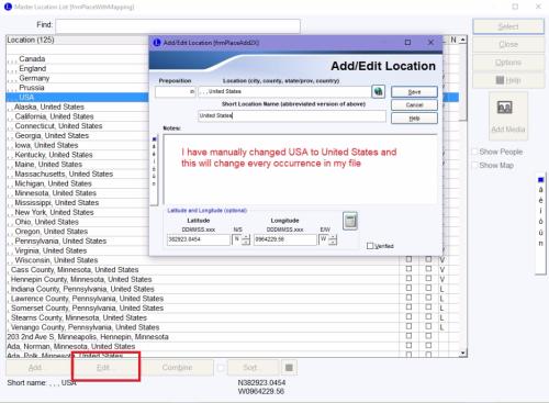 Edit Location dialog box