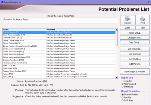Create Problems List