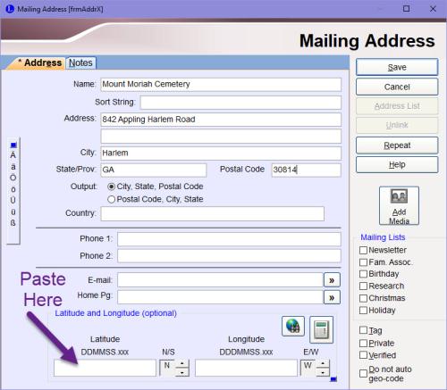 Mailing Address screen