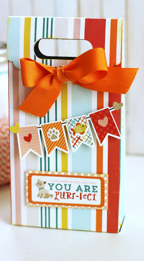 """Gift bag by Holly Gagnon featuring the """"Meow"""" collection by #EchoParkPaper and #Silhouette cut files. Banner and Label stickers are the perfect embellishment!"""