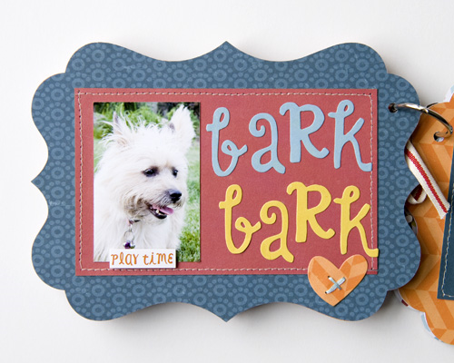 """Bark"" Mini Album by Tegan Skwiat for #EchoParkPaper. Tegan used the ""Bark"" collection, along with #Silhouette shapes, designer dies, designer stamps, and embellishments to create this sweet album."