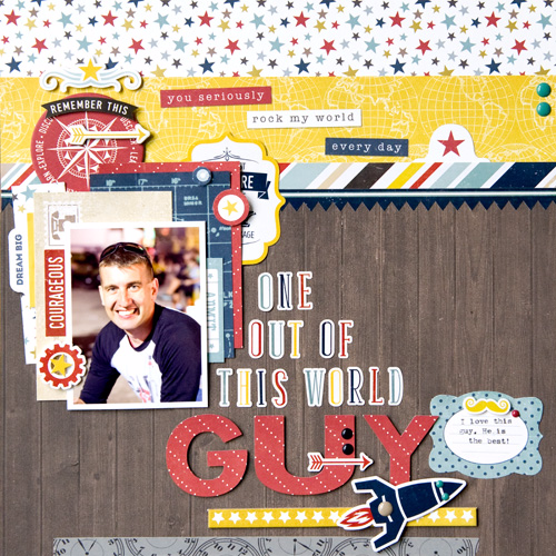 """Out of This World Guy"" layout by Tegan Skwiat for #EchoParkPaper with their ""Pinstripes"" collection."