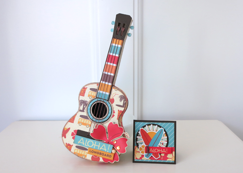 "Ukelele Gift Box and Coordinating Card by Jana Eubank featuring the ""Island Paradise"" collection by #EchoParkPaper"