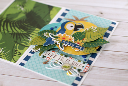 """Create this fun """"Born to be Wild"""" card by Anya Lunchenko with the """"Jungle Safari"""" collection by #EchoParkPaper"""
