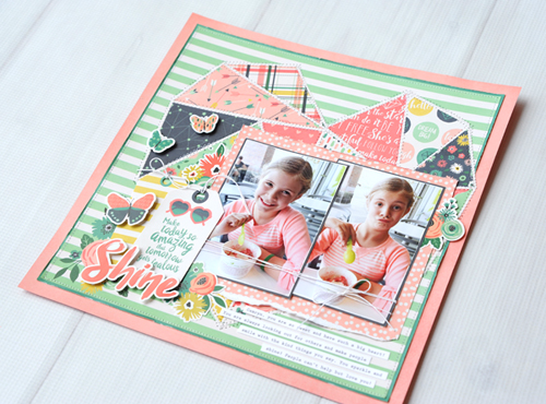 """Add dimension and definition to a layout with machine stitching.  This layout was created by Jana Eubank with the """"Just Be You"""" collection by #EchoParkPaper."""