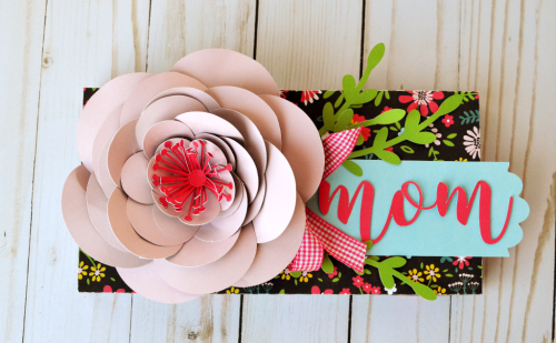"""Peony Mother's Day Gift Box by Wendy Sue Anderson with the """"Summer Fun"""" collection and Silhouette Cut Files by #EchoParkPaper"""