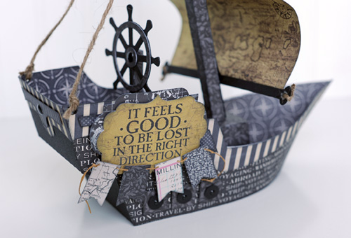 """3D Pirate Ship project by Jana Eubank for #CartaBellaPaper with the """"Transatlantic Travel"""" Collection and Silhouette Cut Files"""
