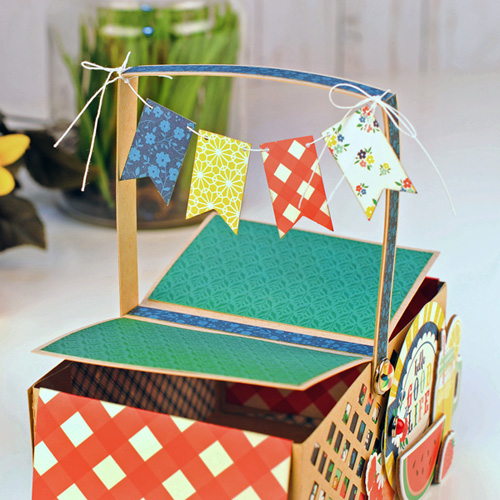 "Paper Picnic Basket created by Jana Eubank featuring the ""Good Day Sunshine"" collection by #EchoParkPaper"