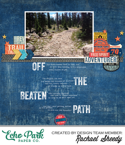 "Digital Layout by Rachael Sheedy with the ""Off Road"" collection by #EchoParkPaper, available at www.snapclicksupply.com"