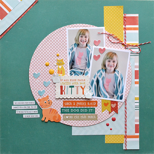 "Kitty Jammies layout by Aly Dosdall for #EchoParkPaper. This scrapbook page shows fun ways to use the ""Meow"" collection, enamel dots, designer stamps, and coordinating stickers!"