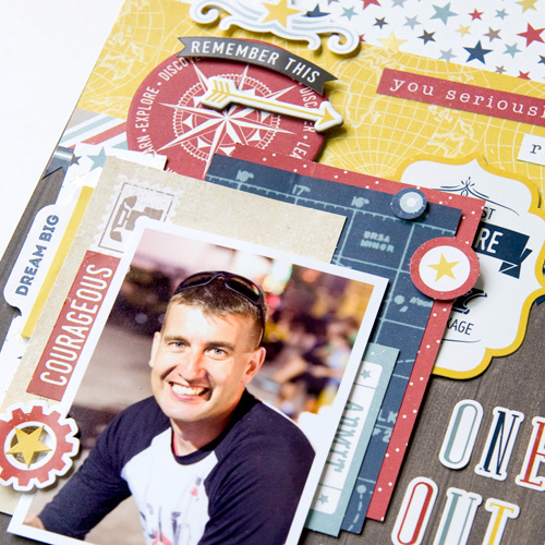 """""""Out of This World Guy"""" layout by Tegan Skwiat for #EchoParkPaper with their """"Pinstripes"""" collection."""