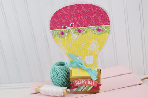 "Hot Air Balloon Treat Box by Becki Adams with the ""Petticoats"" collection by #EchoParkPaper and Silhouette shapes."