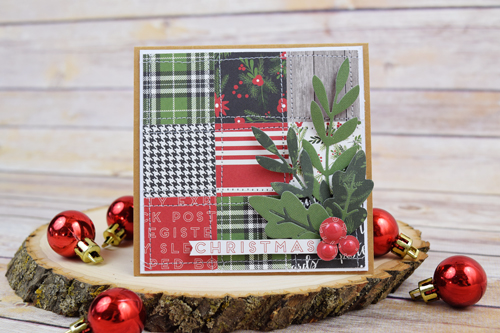 "A Week of Christmad Cards - Day 5: Quilted Christmas Card by Becki Adams with the ""Christmas Delivery"" collection by #CartaBellaPaper"