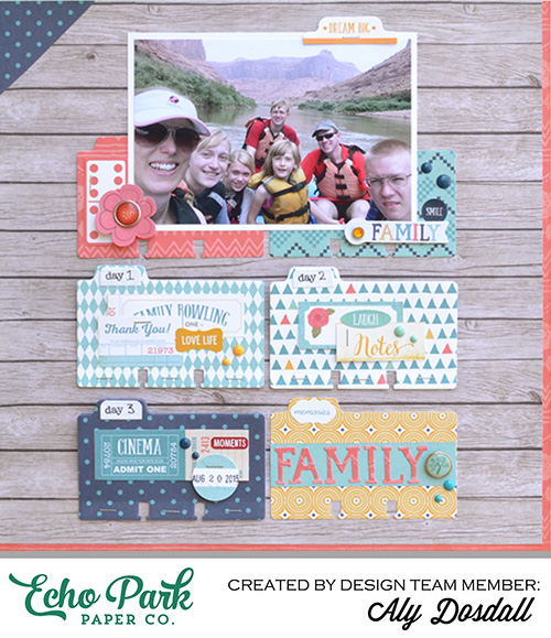 "Family layout by Aly Dosdall with the ""The Story of Our Family"" collection and designer dies by #EchoParkPaper"