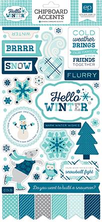 """Hello Winter"" Chipboard Accents by #EchoParkPaper"