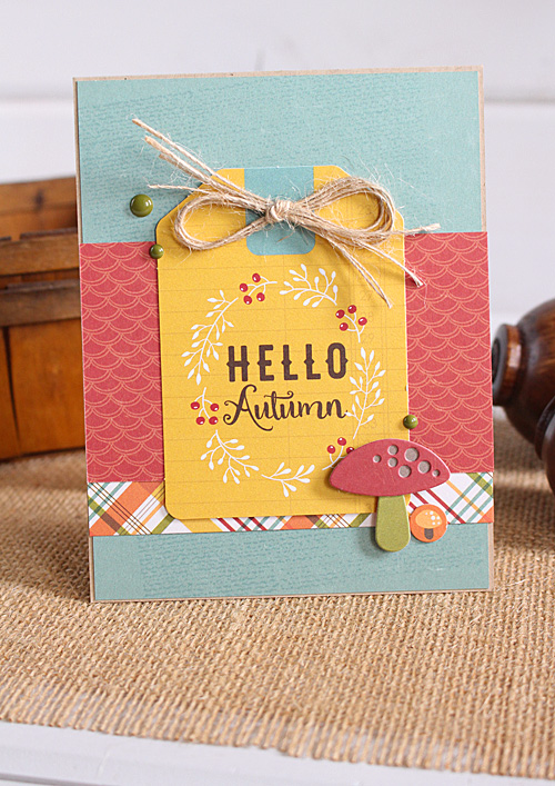 """Hello autumn card by Kimberly Crawford featuring """"Fall is in the Air,"""" designer dies, and ephemera from #EchoParkPaper"""
