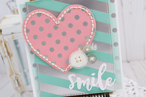 "Use the foil dots and foil stripes paper from #EchoParkPaper to create this fun ""Smile"" Foil Card by Becki Adams!"