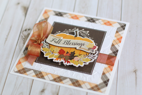 "Beautiful embossed ""Fall Blessings"" card by Anya Lunchenko using the ""Hello Fall"" collection kit and embossing folder by #CartaBellaPaper"