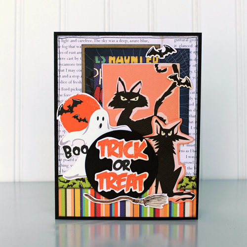 "Trick or Treat Halloween card by Jana Eubank for #CartaBellaPaper with the ""Haunted House"" Collection"