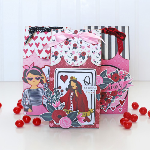 """Valentine Gift Treat Boxes by Jana Eubank with the """"Hello Sweetheart"""" collection by #CartaBellaPaper"""