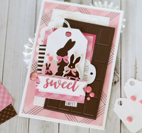 "Chocolate Bunny card by Anya Lunchenko featuring the ""Hello Easter"" collection by #EchoParkPaper"