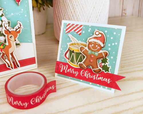 """Cute Christmas Card by Jana Eubank for #CartaBellaPaper featuring the """"Santa's Workshop"""" Collection"""