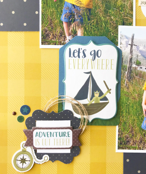 "Sweet Boy layout by Tya Smith featuring the ""Adventure Awaits"" collection by #EchoParkPaper"
