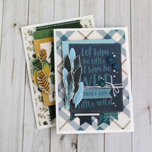 "Fussy-cut feather cards by Anya Lunchenko featuring the ""Adventure Awaits"" collection by #EchoParkPaper"