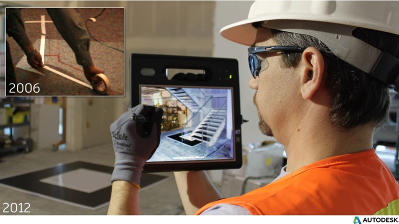 augmented reality AR construction wall framing layout full scale context tablet