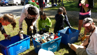 Students sorting items into bins