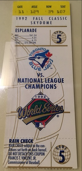 Blue Jays World Series ticket