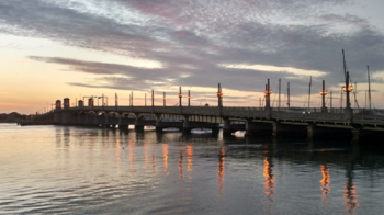 The Bridge of Lions at sunrise, St. Augustine, Florida.