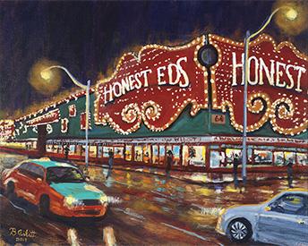 Painting of Honest Eds by Brent Arlitt