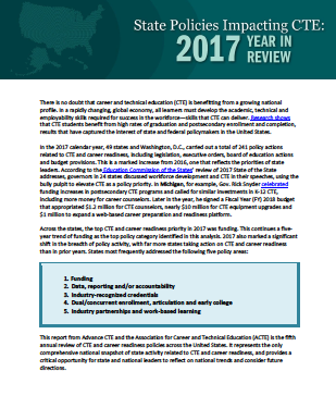 New Report State Of Learning >> New Report 2017 State Cte Policy Review Cte Policy Watch A Blog