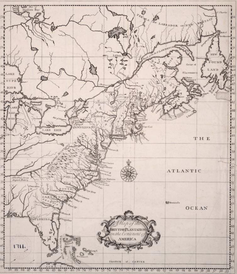 MAP British North America 1739