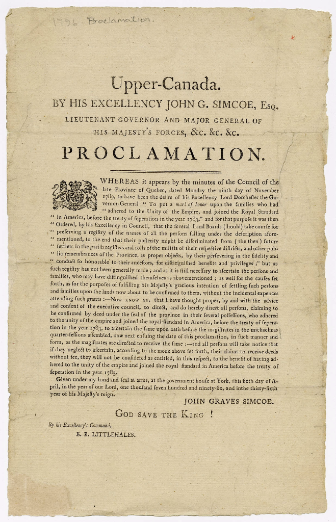 UEL land grants proclamation 1796
