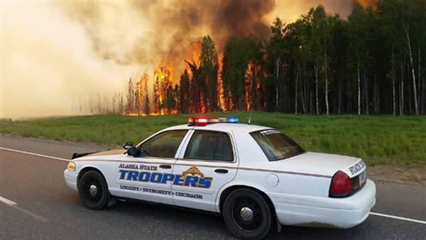 Picture of the Sockeye Fire from Alaska State Troopers Facebook