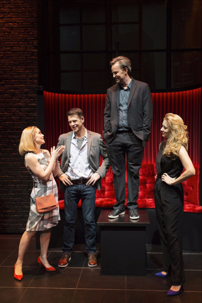 L-R Christina Cole (Stevie), Lloyd Owen (Joseph), Matthew Perry (Jack) & Jennifer Mudge (Stephanie) - The End Of Longing - Playhouse Theatre - Photo By Helen Maybanks (043)