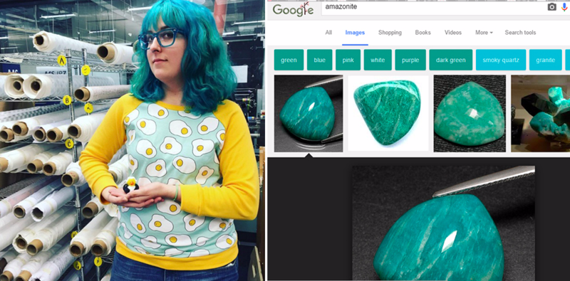 Spoonflower employee Liz was inspired by amazonite, her favorite semi-precious stone!