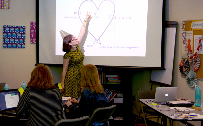 Instructor and Spoonflower Handbook co-author Becka Rahn shows students how to use the pen tool to create a basic shape.