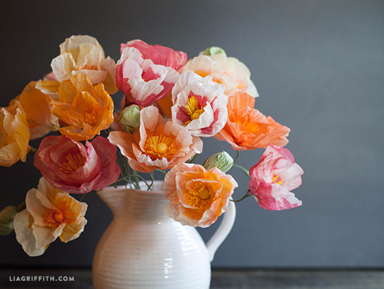 DIY Tissue Paper Poppies in vase by Lia Griffith