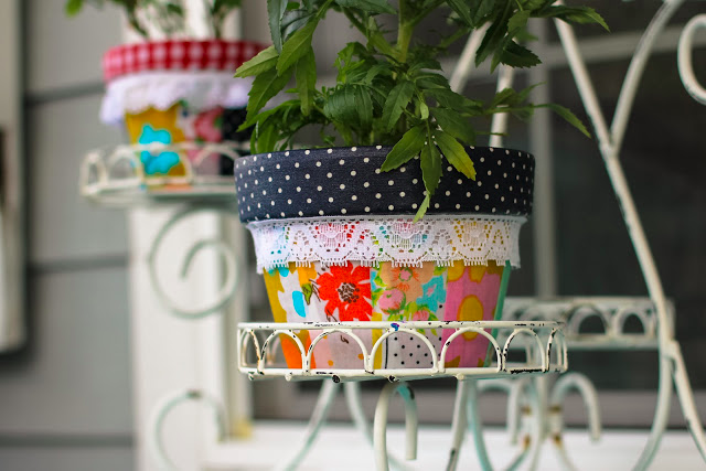 DIY Patchwork Pots by A Bit of Sunshine