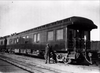 "Arthur Conan Doyle in front of the Grand Trunk Railway car ""The Canada"""