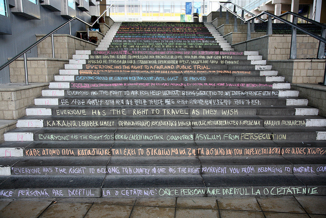 Human Rights Day-chalking of the steps