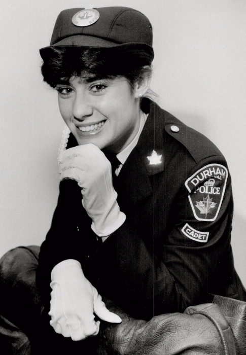 Portrait of Maria Iannuzziello at 19 years old in police cadet uniform
