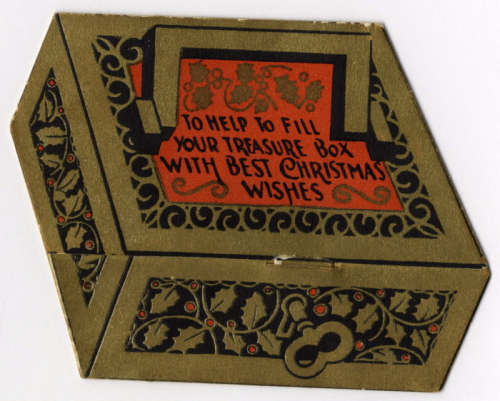 Card shaped like treasure chest  printed in colours and gilt