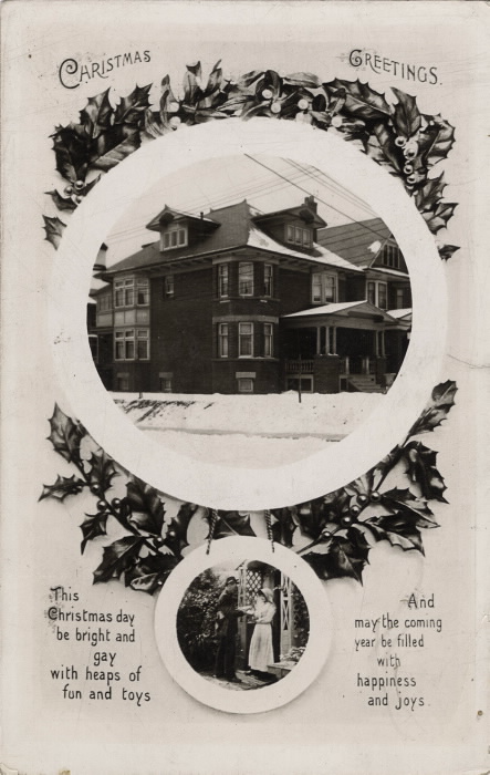 Card with two circular inset images  one of a house and one of a mailman bringing mail to a woman