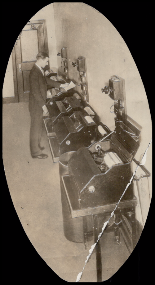 Seven telegraphic printer machines carry news from the distant world into The Star and telegraph wire operates the typewriter.