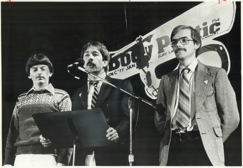 Ken Popert, Gerald Hannon, and Ed Jackson in 1979, one year after the launch of a prolonged legal battle over the newspaper
